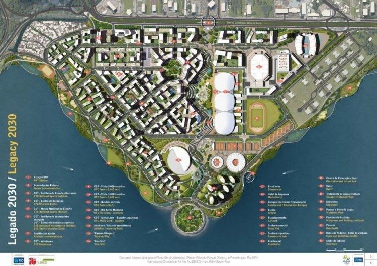 Plan du réaménagement post-olympique prévu pour le Parc de Barra (Crédits - AECOM / Rio 2016)