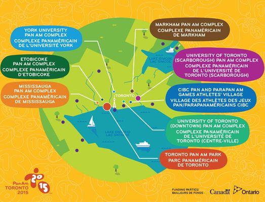 Carte des principales installations des Jeux Panaméricains 2015 (Crédits - Toronto 2015)