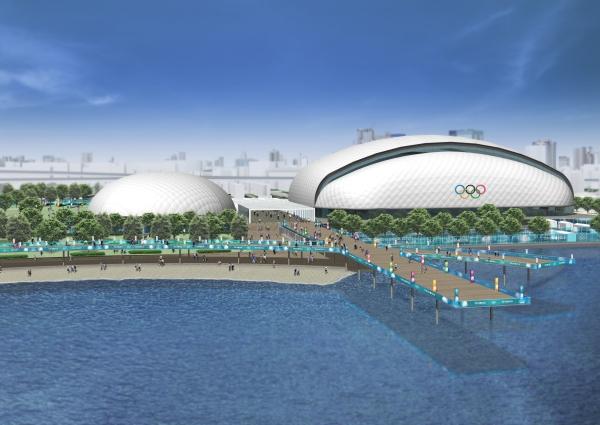Visuel des projets d'Aréna de water-polo et de Centre de Natation Olympique de Tokyo (Crédits - Tokyo 2020)