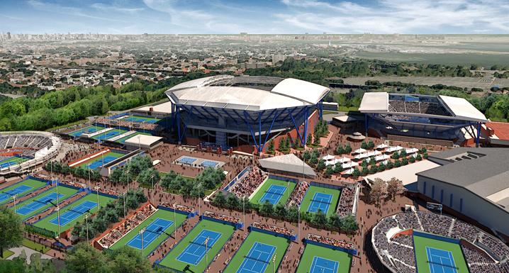 Visuel du complexe de Flushing Meadows avec, de gauche à droite, le nouveau GrandStand (8 000 places) ; le Arthur Ashe Stadium (22 500 places) et le Louis Armstrong Stadium (15 000 places) en 2018 (Crédits - US Open / Cabinet Rossetti)