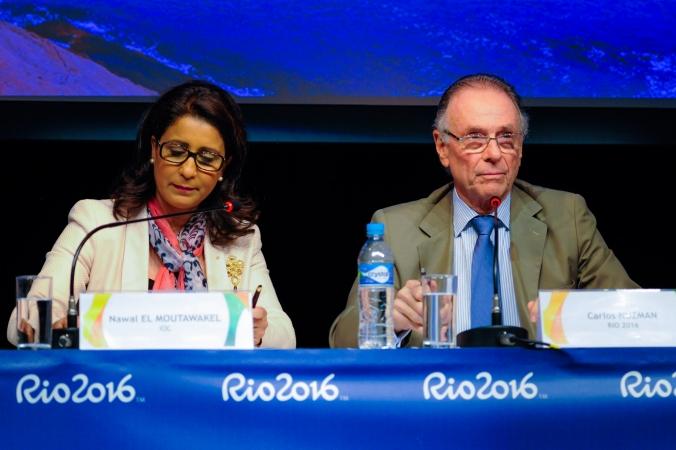 Nawal El Moutawakel, Présidente de la Commission de Coordination du CIO en charge de Rio 2016, et Carlos Arthur Nuzman, Président du Comité d'Organisation des JO 2016 (Crédits - Rio 2016 / Alex Ferro)