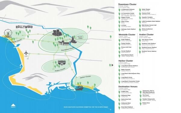 Carte du projet de Los Angeles 2024 (Crédits - SCCOG)