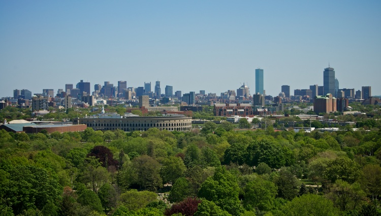 the skyline (with Harvard Stadium)