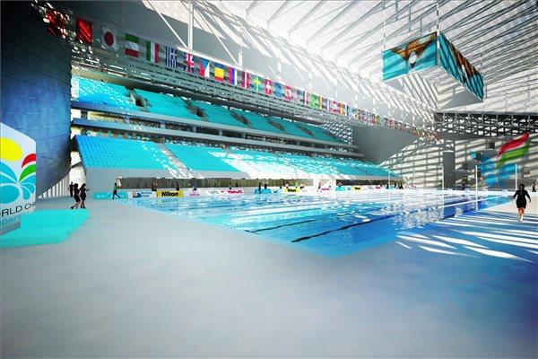 Budapest - vue intérieure du futur Centre Aquatique