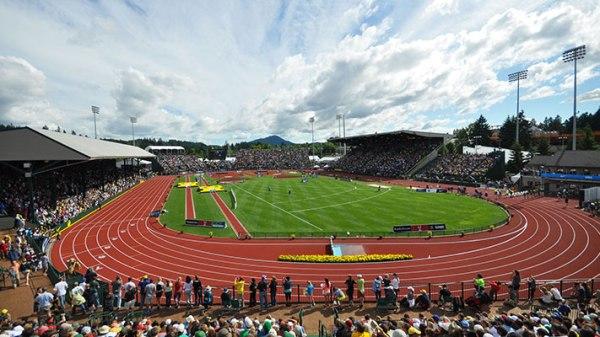 Eugene 2019 - vue de la piste du Hayward Field Stadium