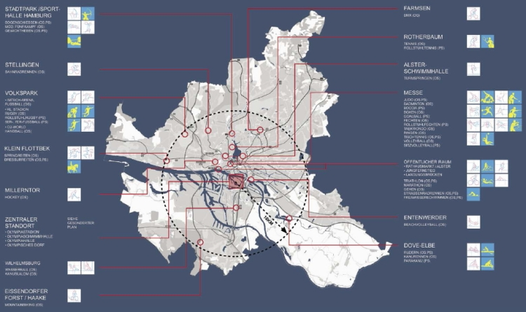 Hambourg 2024 - carte des sites