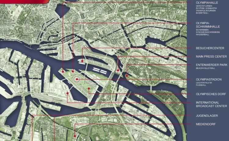 Hambourg 2024 - localisation des sites du Parc Olympique
