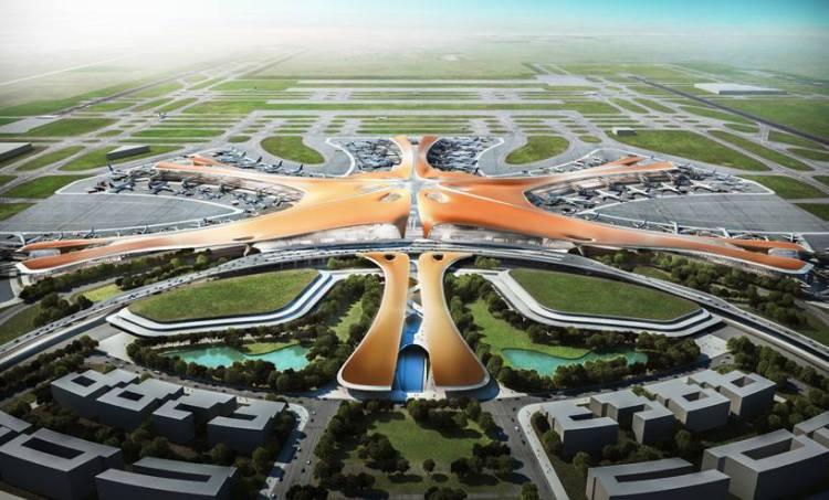 Visuel de la future plate-forme aéroportuaire de Pékin (Crédits - Zaha Hadid Architects)
