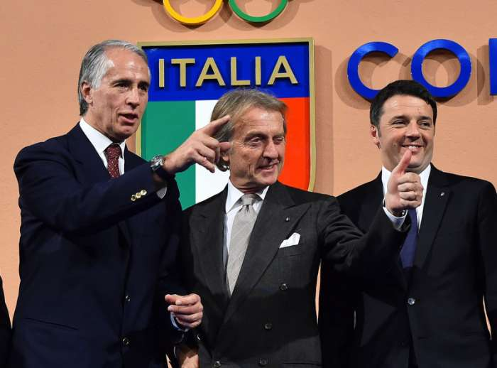 De gauche à droite, Giovanni Malago, Président du CONI ; Luca di Montezemolo, Président de Rome 2024 et Matteo Renzi, Président du Conseil Italien (Crédits - CONI)