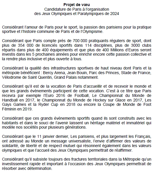 Paris 2024 - Projet de voeu - 1