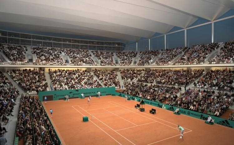 Vue intérieure du Court de 15 000 places avec toiture rétractable (Crédits - Marc Mimram)