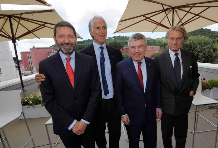 De gauche à droite, Ignazio Marino, Maire de Rome ; Giovanni Malago, Président du CONI ; Thomas Bach, Président du CIO et Luca di Montezemolo, Président de Rome 2024 (Crédits - Ferdinando Mezzelani-GMT)