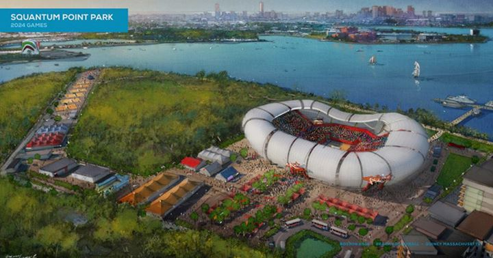 Visuel du stade de beachvolley (Crédits - Boston 2024)