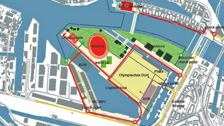 Sur ce plan, le Stade Olympique est proche de l'aréna principale et du Village des Athlètes, tandis que le Centre Aquatique est implantée sur l'une des rives de l'Elbe (Crédits - Village de Hambourg)