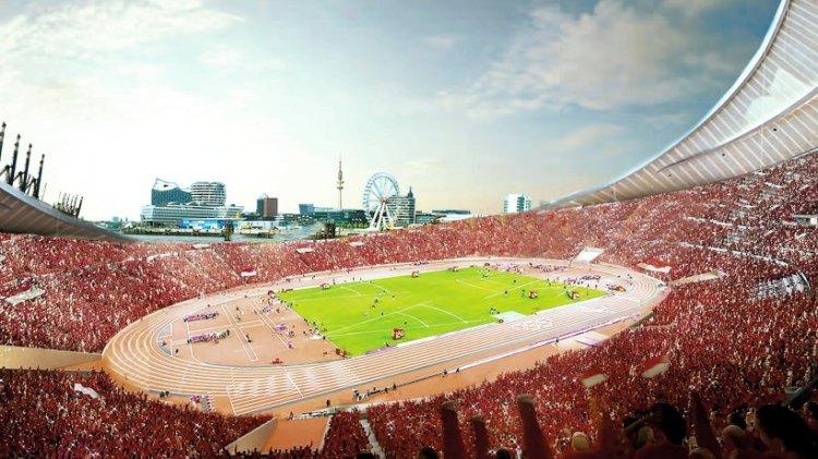 Première esquisse du Stade Olympique de Hambourg (Crédits - FHH)