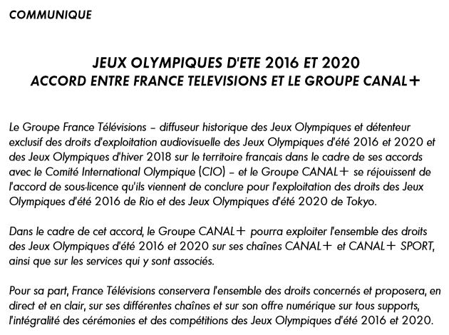 JO2016 et JO2020 - FTV - Canal+