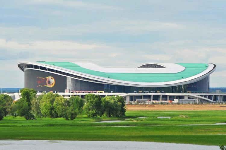 Les épreuves de natation se dérouleront au cœur du stade de Kazan réaménagé pour l'occasion (Crédits - Kazan 2015)