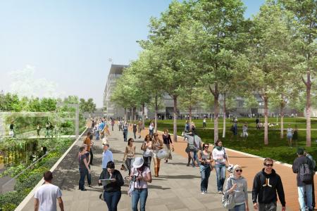 Vue de la nouvelle allée et de la Place des Mousquetaires (Crédits - DR / FFT)