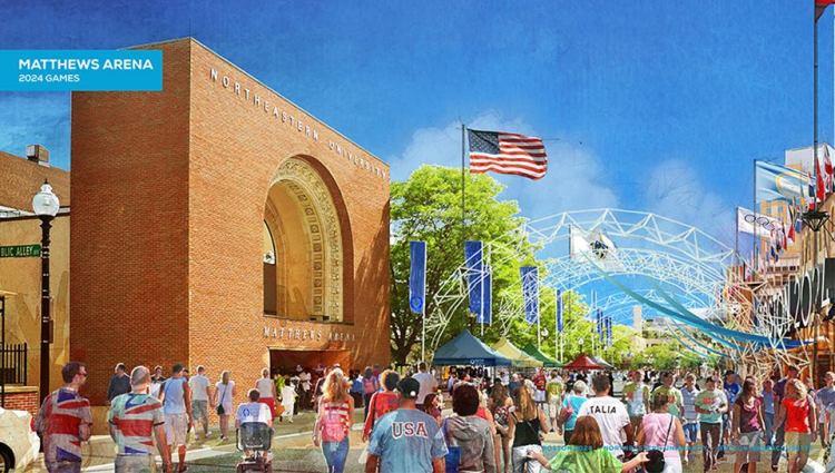 Visuel de la Matthews Arena prévue pour accueillir les épreuves d'haltérophilie (Crédits - Boston 2024)