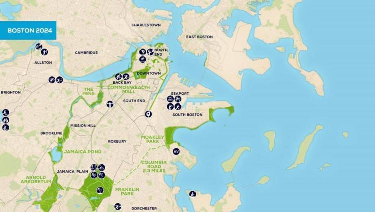 Implantation des sites olympiques dans la ville de Boston (Crédits - Boston 2024)