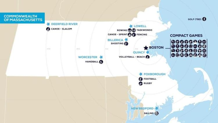 Implantation des sites dans l'État du Massachusetts (Crédits - Boston 2024)