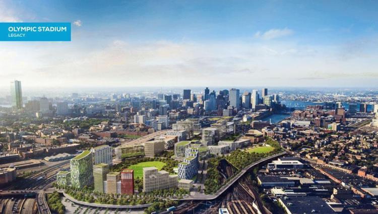Visuel du quartier de Widdett Circle après les Jeux et le démantèlement du Stade Olympique (Crédits - Boston 2024)