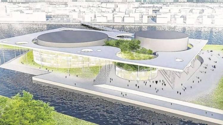 Esquisse du Centre Aquatique de Hambourg 2024 (Crédits - KCAP, Arup, Vogt, Kunst + Herbert  GMP, WES, Drees & Sommer)