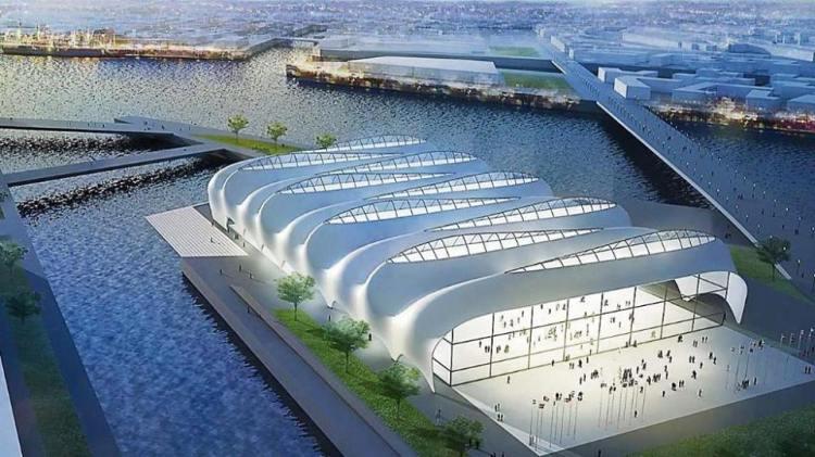 Esquisse du Centre Aquatique de Hambourg 2024 (Crédits - KCAP, Arup, Vogt, Kunst + Herbert |GMP, WES, Drees & Sommer)