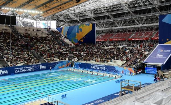 Vue de l'Arena Stadium de Kazan où auront lieu les épreuves de natation. Les tribunes pourront accueillir 11 000 spectateurs (Crédits - Kazan 2015)