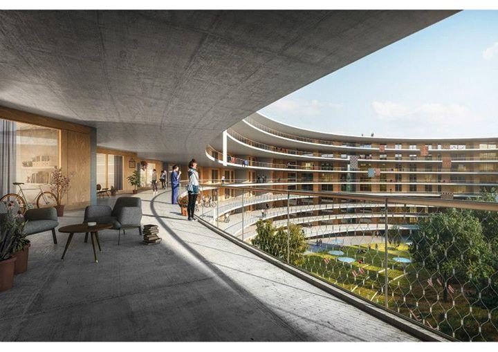 Visuel de l'un des terrasses du futur Village Olympique de Lausanne (Crédits - Lausanne 2020)