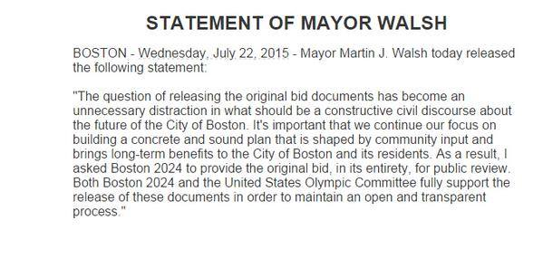 Communiqué de presse du Maire de Boston, Marty Walsh.