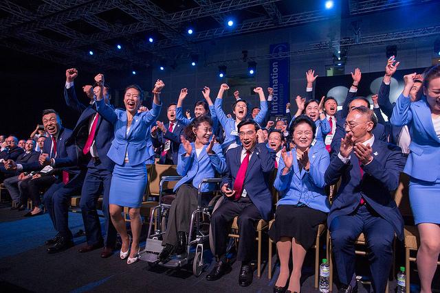 La délégation chinoise à l'annonce du résultat (Crédits - CIO)