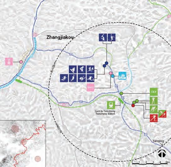 Carte des sites de Zhangjiakou (Crédits - Pékin 2022)