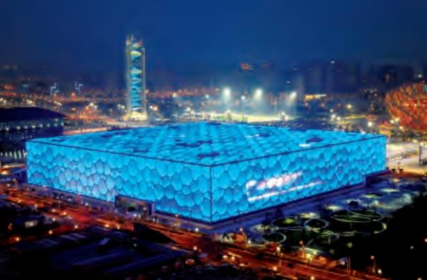 Vue du Cube d'eau (Crédits - Pékin 2022)