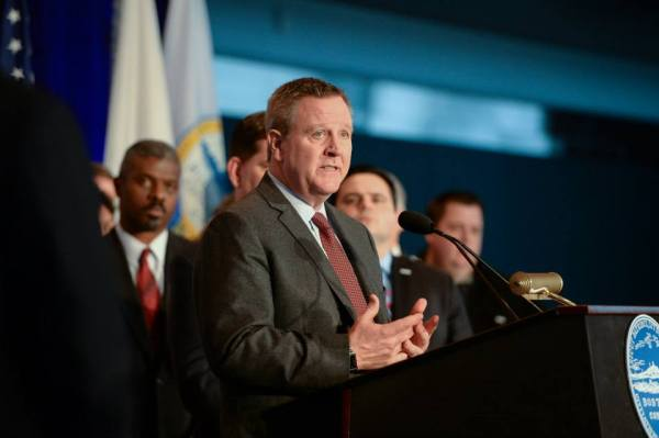 Scott Blackmun, lors de l'officialisation de la candidature de Boston, en janvier 2015 (Crédits - Boston 2024)
