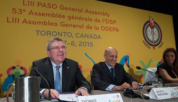Le Président du CIO, Thomas Bach, à l'Assemblée générale de l'Organisation Sportive Panaméricaine (ODEPA) à Toronto avant les Jeux Panaméricains (Crédits - CIO / Ian Jones)