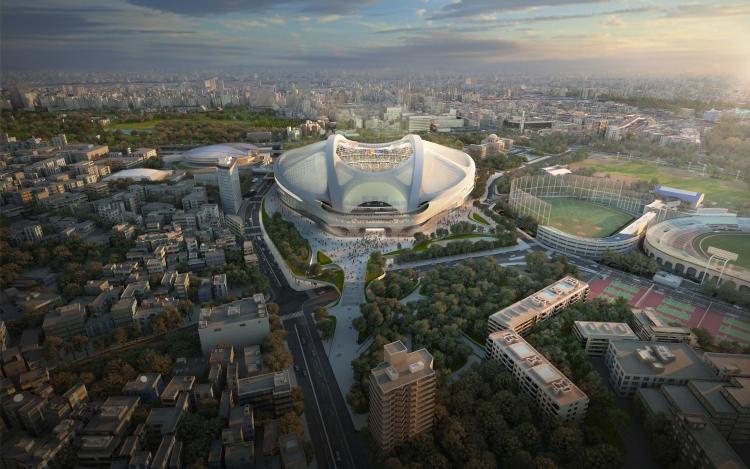 Visuel du projet de Stade Olympique de Tokyo porté par Zaha Hadid. Le projet a finalement été abandonné (Crédits – Zaha Hadid Architects)