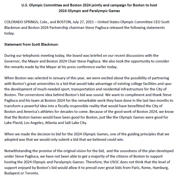 USOC - Boston 2024 - retrait