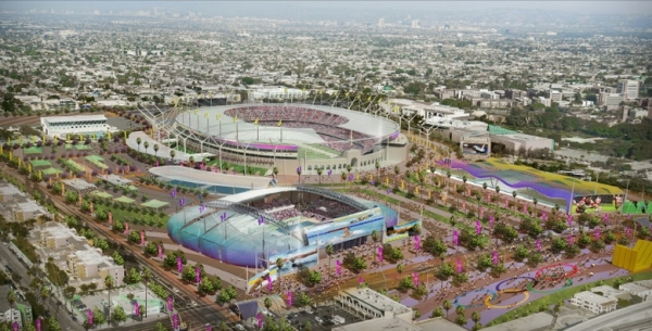 Visuel du Downtown Cluster, avec au premier plan, le Centre Aquatique, et au second plan, le Stade Olympique (Crédits - LA 2024)