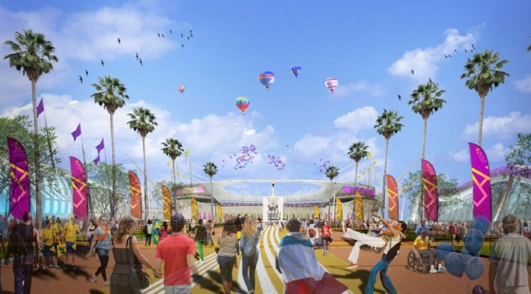 Visuel de l'esplanade et du Los Angeles Memorial Coliseum (Crédits - Los Angeles 2024)