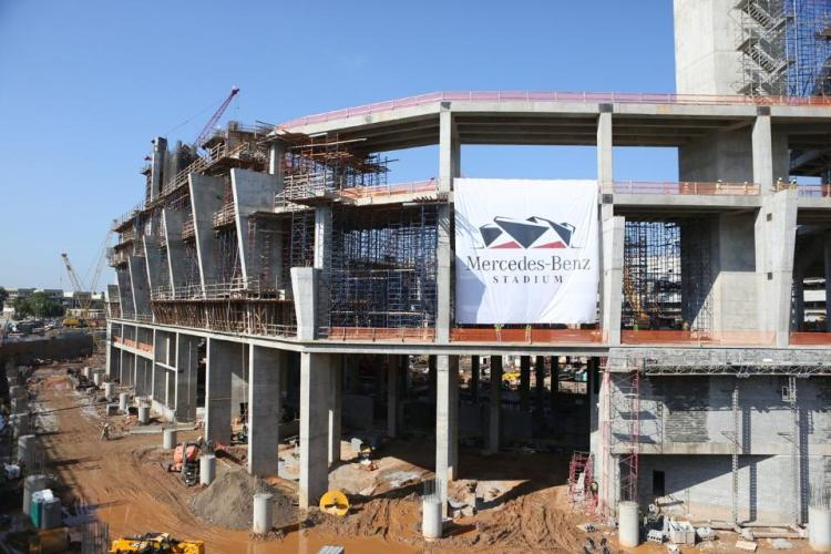 Vue du chantier du Mercedes-Benz Stadium (Crédits - Atlanta Falcons)
