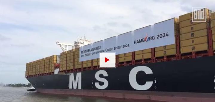 Le MSC Zoe à son arrivée dans le port de Hambourg (Crédits - Bild)