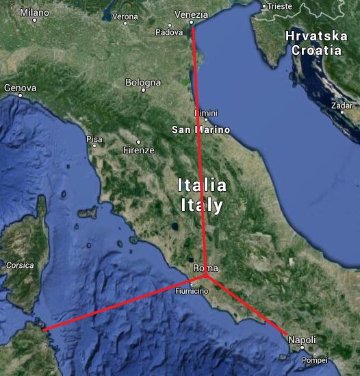 Localisation des trois sites candidats pour les épreuves de voile de Rome 2024 (Crédits - Google Map)