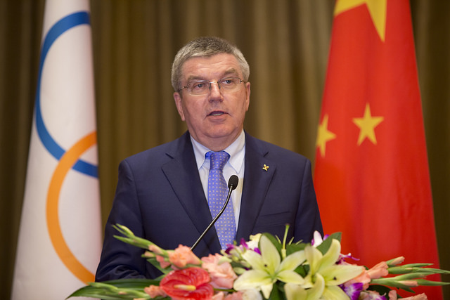 Le Président du CIO, Thomas Bach, lors de son discours devant les responsables chinois (Crédits - CIO / Greg Martin)