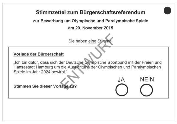 """Bulletin de vote pour le référendum. Les électeurs devront répondre par Oui ou Non : """"Je suis favorable à ce que la Confédération Allemandes des Sports Olympiques (DOSB) candidate à l'organisation des Jeux Olympiques et Paralympiques de 2024 avec la Ville libre et hanséatique de Hambourg"""""""