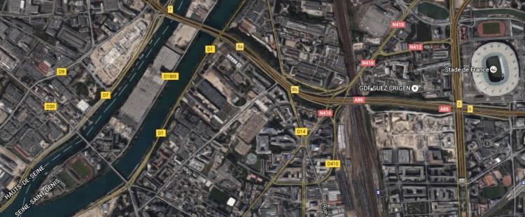Île-Saint-Denis et quartier Pleyel, non loin du Stade de France (Crédits - Google Map)