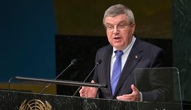 Thomas Bach à la tribune de l'ONU, samedi 26 septembre (Crédits - CIO / Ian Jones)
