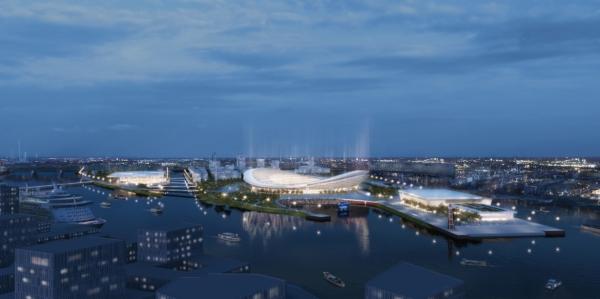 Visuel des trois principaux équipements sportifs de Kleiner Grasbrook, avec de gauche à droite, le Centre Aquatique, le Stade Olympique et la Halle Olympique (Crédits – Hambourg 2024 / Visualisierungen HH Vision, Luftbilder Matthias Friedel)