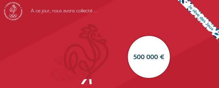 La barre symbolique des 500 000 euros collectés a été franchie à 12h41, vendredi 23 octobre 2015 (Crédits - Capture d'écran / Sport & Société)