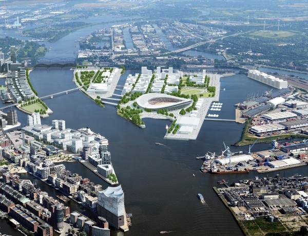 Visuel du quartier portuaire de Kleiner Grasbrook (Crédits - Hambourg 2024 / Visualisierungen HH Vision, Luftbilder Matthias Friedel)